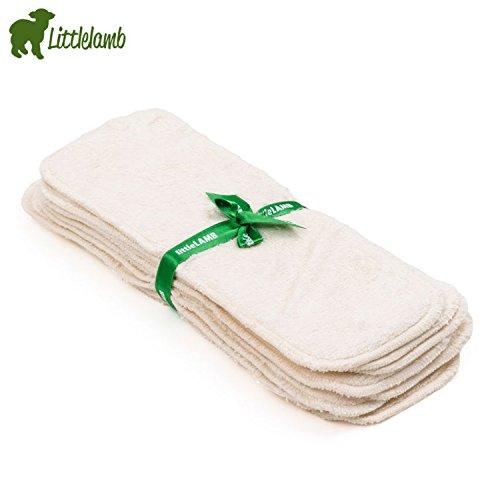 Little Lamb Booster Bamboo Windeleinlagen (5 Stück) Größe 1 - 29x11 cm - 3-lagige Saugeinlagen, Bambus Einlage, Stoffwindel Einlage, Littlelamb Bambus-Saugeinlage 5er-Set