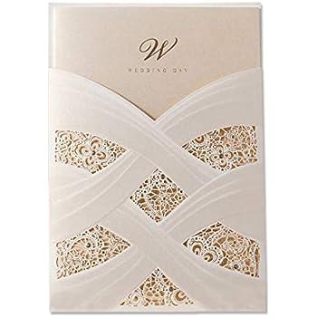 17a57a59f838 50X Wishmade Taglio Laser Inviti Da Matrimonio Avorio Carta Hollow Pizzo  Flora Verticale Bronzing Folds Cartoncini