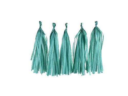 Archiba 12 * 35cm 2packs / Lot (5pcs / Pack) Mint Green Seidenpapier Quaste Garland Geburtstag Hochzeit Dekorationen, LS16.Teal Grün