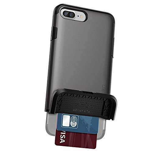 iPhone 7 Plus Hülle, Spigen® [Flip Armor] Kartenfach [Gunmetal] Doppelte Schutzschicht mit Luftpolster-Kantenschutz - Card Holder Schutzhülle für iPhone 7 Plus Case, iPhone 7 Plus Cover - Gunmetal (04 FA Rose Gold