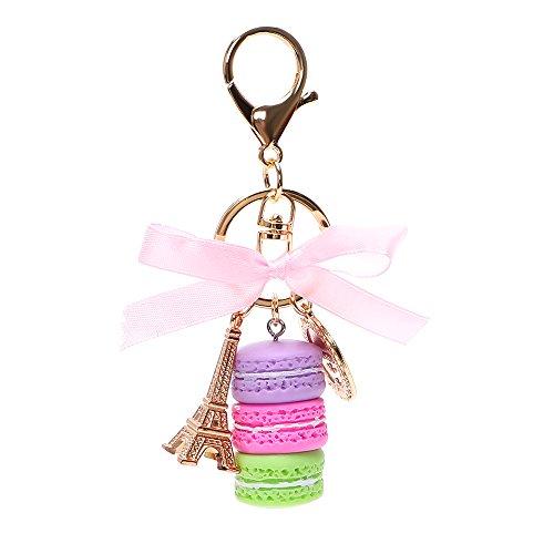 caron Schlüsselanhänger Eiffelturm KFZ Schlüssel Ringe Lovely Schlüsselanhänger Geschenke für Mädchen Halterung Auto Zubehör Key Kette (Lila& Pink & Grün) ()