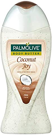 Palmolive Body Wash Coconut Joy, 250ml Bottle, Crème Based Exfoliator with Real Apricot Seeds and Jojoba Butte