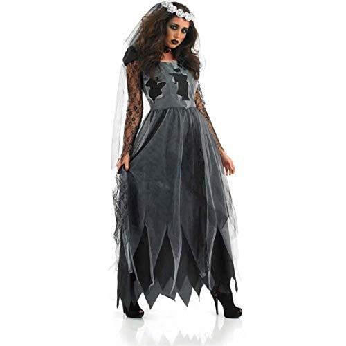 SPFTOY Hexenkostüm Damen Halloween Hexe-Uniformen-Tag der Toten Vampir Königin Kostüme Braut Geisterkostüm-L