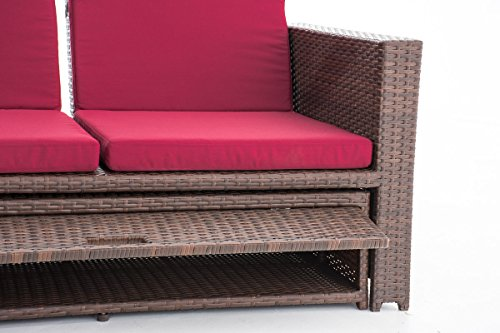 CLP Poly-Rattan 2er Lounge-Sofa ANCONA, ALU-Gestell, Fußteil ausziehbar, flexibel verstellbar, 7 Farben + 2 Rattan Stärken wählbar Rattan Farbe braun-meliert, Stärke 1,25 mm, Bezugfarbe: Rubinrot - 6