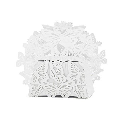 20Pcs Geburtstag Bridal Shower Valentinstag Weihnachtsdekoration Süßigkeit-Kasten mit Band Laser White Butterfly Schokolade Geschenkboxen Bonbonpapier-Geschenk-Box - Weiß (Süßigkeiten-boxen Für Den Valentines Tag)