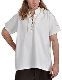Chemise médiévale pour homme manches courtes col droit cordelette coton écru