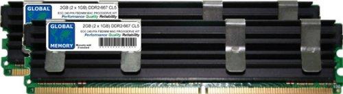 GLOBAL MEMORY 2GB (2x 1GB) DDR2667MHz PC2-5300240-PIN ECC Voll gepuffert (FBDIMM) Arbeitsspeicher RAM Kit für Mac Pro (Original/2006) -