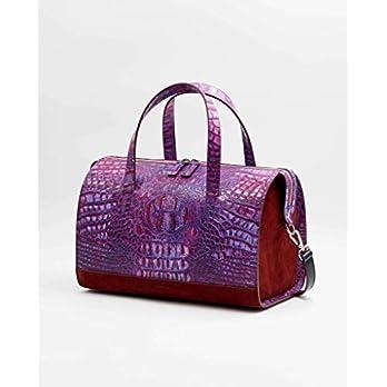 SOOFRE Berlin Croco Leder Bowler Bag SOPHIE Damen Umhängetasche Schultertasche Henkeltasche Handtasche Bowling-Tasche, Purpur Lila | Burgund