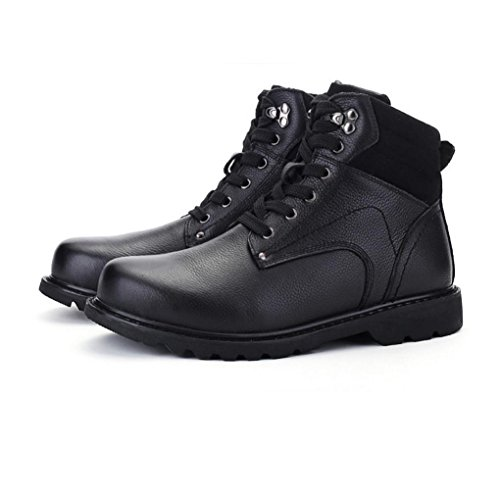 WZGMartin bottes bottes d'hiver britanniques de style hommes grands chantiers bottes première couche de chaussures en cuir hommes outillage bottes ainsi que le coton à la main 10 cotton black