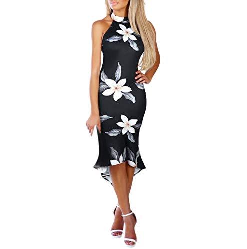 Freizeitkleider Für Damen,Dragon868 Frauen Sexy Schulterfrei Sling Floral Dip Hem Partyabend Bodycon Midi-Kleid Floral Dip