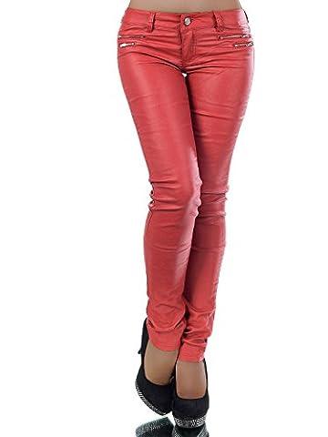 L521 Damen Jeans Hose Hüfthose Damenjeans Hüftjeans Röhrenjeans Leder-Optik, Farben:Rot;Größen:36