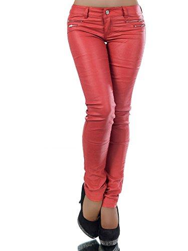 L521 Damen Jeans Hose Hüfthose Damenjeans Hüftjeans Röhrenjeans Leder-Optik, Farben:Rot;Größen:38 (M)