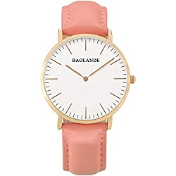 Alienwork Classic St.Mawes Quarz Armbanduhr elegant Quarzuhr Uhr modisch Zeitloses Design klassisch rose gold pink Leder U04815L-04