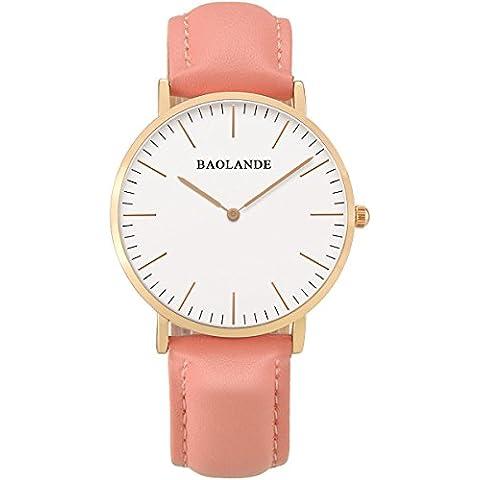 Alienwork Classic St.Mawes Reloj cuarzo elegante cuarzo moda diseño atemporal clásico Piel de vaca oro rosa pink