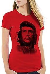 style3 Cuba Liberta Damen T-Shirt Kuba revolutionär Revolution, Farbe:Rot, Größe:L