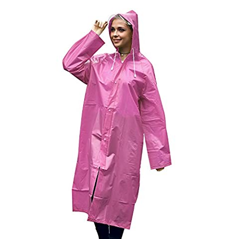 Unigear Portable Raincoat Rain Poncho Raincoat with Hoods and Sleeves for Rainy Days, Camping, Travel, Mountaineering (Pink, L)