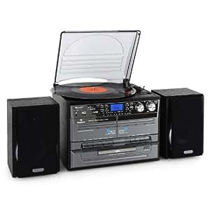 auna TC-386WE Retro Hifi Stereo (Twin Tape Deck, Record Player & CD Player) - Black