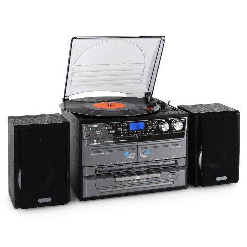 dual stereoanlage mit plattenspieler Auna TC-386WE  Stereoanlage (MP3/Kassette/CD Plattenspieler, USB) schwarz