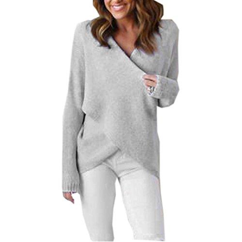 Koly_Womens Long V-Neck attraversare manica lunga allentato maglione lavorato a maglia (Grigio)