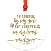 Belle10Bob Personalized Dog Cat Pet Animal Memorial Round Metal Christmas Ornament, No Longer By My Side But Forever in My Heart, Gold Glittering, Custom Name