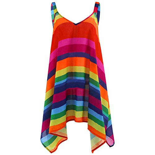 KaloryWee Women Rainbow Stripe Pullover Sleeveless Irregular Swing Vest Tank Shirt Plus Size Tops Blouse