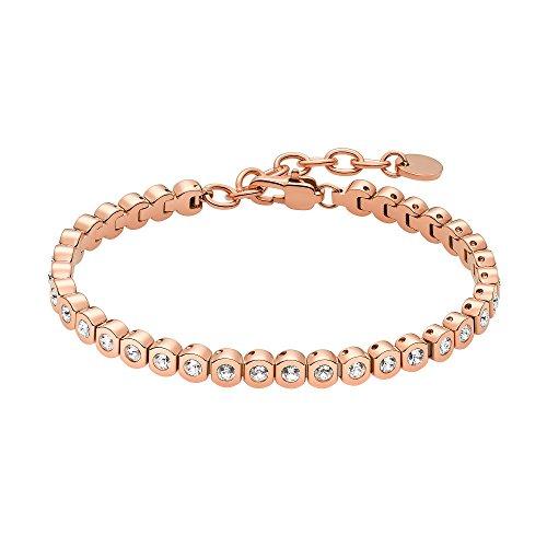 Heideman Armband Damen Amilla II aus Edelstahl Rosegold farbend matt Tennisarmband mit Swarovski Steinen Weiss mit Verlängerung Armkette Schmuck