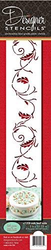 Designer Stencils C120t Oak Leaf Cake Stencil Side, Beige/semi-transparent Oak Leaf Cookie