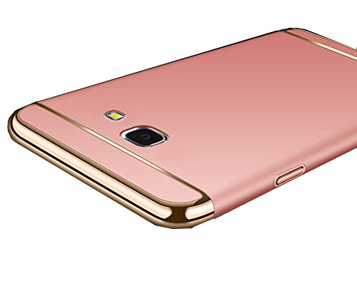 Relax And Shop 3 IN 1 Shockproof Dual Layer Thin Circle View Back Chrome, Hybrid Protective Back Case Cover For Samsung Galaxy J7 Prime (Rose Gold)