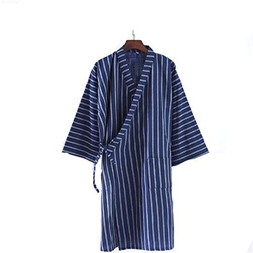 Leichter Morgenmantel Herren für Sommer, Nachtwäsche Kimono Saunamantel Herren Pyjama mit Weich und Bequem,Cotton Double Gaze Streifen grün gestreiften Herren Nachthemd L - Streifen-satin Baumwolle Pyjama