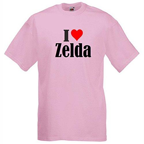 """T-Shirt """"I Love Zelda"""" für Damen Herren und Kinder in Pink Pink"""