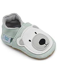 Dotty Fish Chaussures Cuir Souple bébé. Chaussures de Poussette. Conceptions Animale avec Panda, Lion, Renard et Ours. Nouveau-né à 4-5 Ans