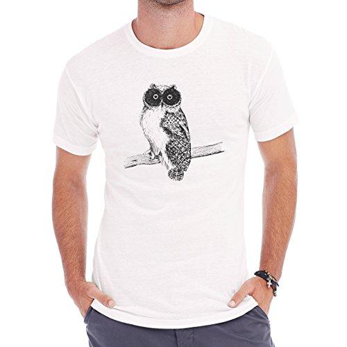 Owl Bird Night Midnighter Pencil White Black Herren T-Shirt Weiß