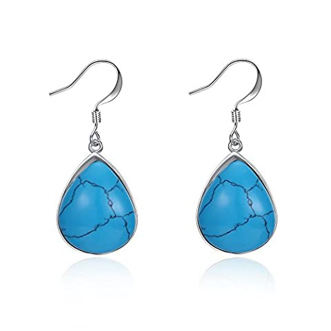 FushoP Blue Teardrop Stone Dangle Boucles d'oreilles Crystal Rhinestone Hook Earrings (Plaqué platine)