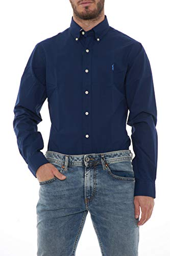Polo ralph lauren long sleeve sport shirt camicia uomo slim fit-navy-s