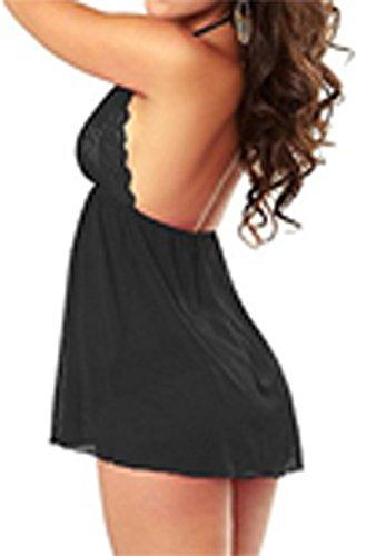 Lannorn Damen 2tlg Nachtmaentel mit String Halfter Nachtkleid Spitze Satin Nachthemd Unterwaesche Reizwäsche Dessous Schwarz