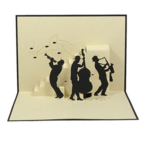 Favour Pop Up Glückwunschkarte. Ein filigranes Kunstwerk, dass beim Öffnen mit einer liebevoll gestalteten Jazz-Band überrascht. TB050 (12 x 17)