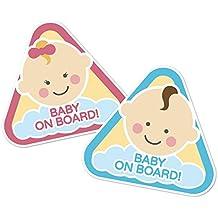 """Lunotto - Pegatina tuning, diseño de texto """"Baby on board"""" Para coche y moto, niño y niña a bordo. niño"""