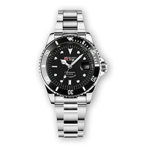 Military Royale Herren Armbanduhr Edelstahl Chronograph Schwarz Schwarz Silber