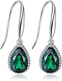 Jewelrypalace 5.8ct Grün Simulierte Nano Tropfenschliff Russisch Smaragd Ohrhänger Ohrringe 925 Sterling Silber