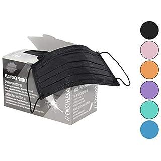 Mundschutz (OP Vlies-Mundschutz) 50 Stück mit elastischen Gummibänder, OP Gesichtsmasken, Mundschutzmasken glasfaserfrei latexfrei (4-lagig, schwarz)