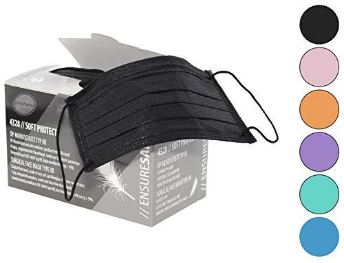 50x Mundschutz 4lg. mit elastischen Gummibänder, OP Gesichtsmasken, Mundschutzmasken glasfaserfrei latexfrei (schwarz)