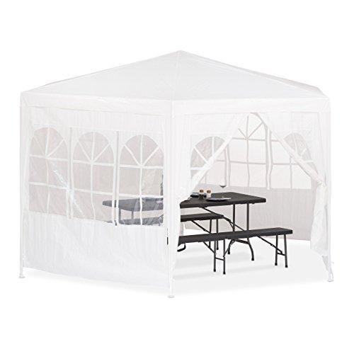 Relaxdays Pavillon 6-eckig mit Seitenwänden, Partyzelt, edel, wasserabweisend, stabil, PE-Plane,...
