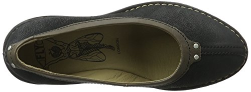 FLY London Sabi621, sandales compensées  Femme Noir (Black/Khaki 005)
