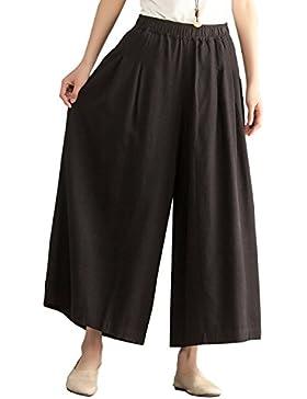 Aeneontrue Mujer Pantalones Anchos Ocasionales de la Pierna con Cintura Elástica Sabana de Algodon Pantalones...