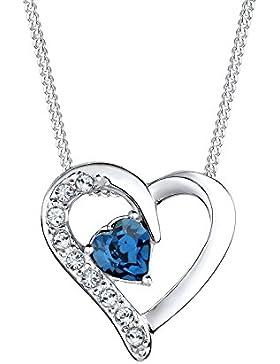 Elli Damen-Kette mit Anhänger Herz 925 Silber Kristall Herzschliff blau - 0111841714