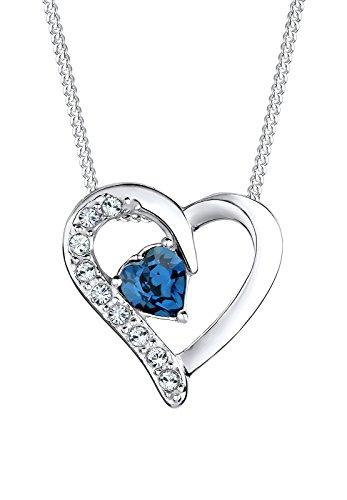 Elli Damen-Kette mit Anhänger Herz 925 Sterling Silber Swarovski Kristall Herzschliff blau 45 cm - 0111841714_45