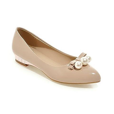 AdeeSu Womens Bead Mule Dance Low Heels Apricot Pig Skin Pumps Shoes 5.5 UK