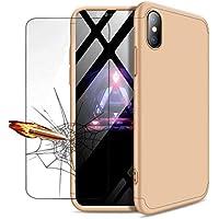 iPhone XR Hülle + Panzerglas, JINICHANGWU 360° Rundumschutz-Schale PC Full-Cover Anti-Kratzer Handyhülle Schutzhülle Case für iPhone XR 6,1 Zoll (2018) (Gold)
