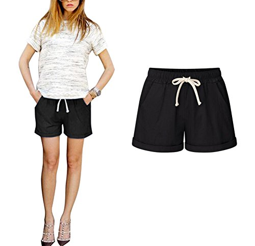 s Sommer High Waist Casual Große Größen Hot Pants Kurze Hosen (Schwarz, XL) (Leinen Locker)
