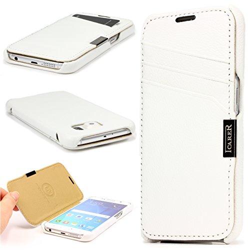 Urcover Original iCareR® Tasche für das kompatibel mit Samsung Galaxy S6 Case Schutz Hülle Cover Etui Card-Slot Vintage Series Weiß Vintage Couture-mode